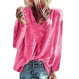 AIFGR - Maglione a Maniche Lunghe da Donna, Autunno e Inverno, con Scollo a V, Colore: Rosa, Verde, Rosa, Azzurro, Grigio, S/M/L/XL/XXL Pink M