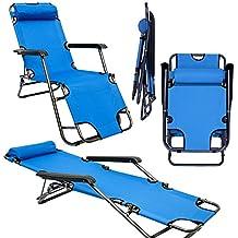 Tumbona Plegable | Cómoda Silla de Playa 153 cm + Reposacabezas + Reposapiernas + Respaldo Reclinable | Azul