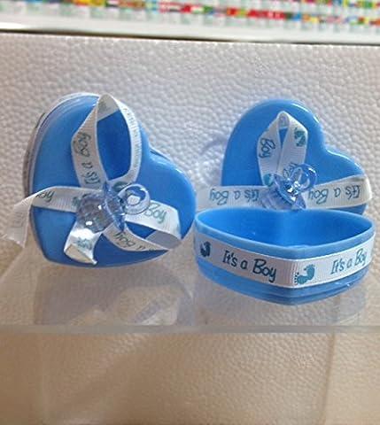 Stock 25pièces Boîte cœur avec nœud et Sucette Bleu clair
