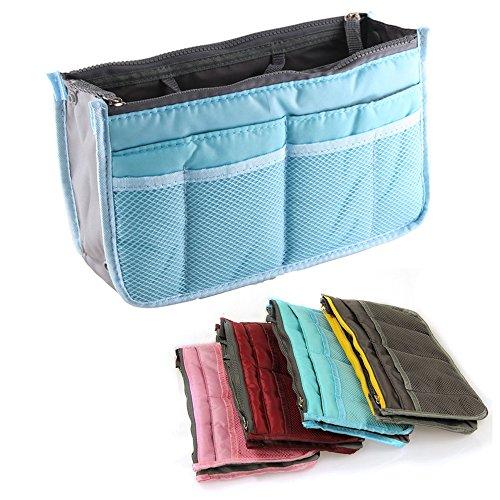 Yihya Donne Travel Organizer Bag Viaggiare Organizzatore Sacchetto Borsa Pouch con Doppia Zip Fodera Inserire Tasche Multiple Tidy Cosmetici Pouch Borsa --- ( Blu )