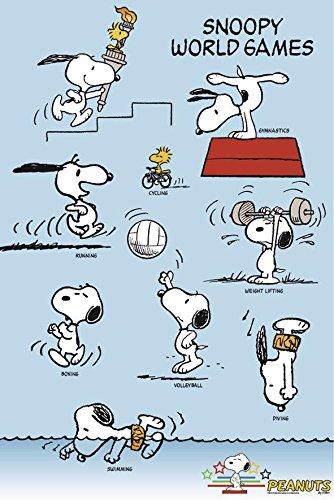 Peanuts Snoopy World Games Poster (61cm x 91,5cm) + Geschenkverpackung. Verschenkfertig!
