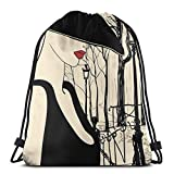 Jiger Drawstring Tote Bag Gym Bags Storage Backpack, Young European Woman with A Hat In Paris Montmartre Streets Art,Very Strong Premium Quality Gym Bag for Adults & Children