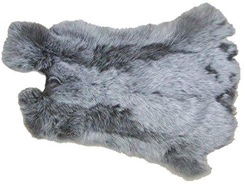 Ensuite Kaninchenfelle grau meliert naturfarben, ca. 30x35 cm, Felle vom Kaninchen mit seidigem Haar