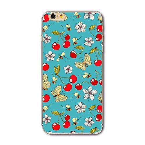 Coque iPhone 7 Plus Housse étui-Case Transparent Liquid Crystal en TPU Silicone Clair,Protection Ultra Mince Premium,Coque Prime pour iPhone 7 Plus (2016)-Géométrique Papillon Et Cerise