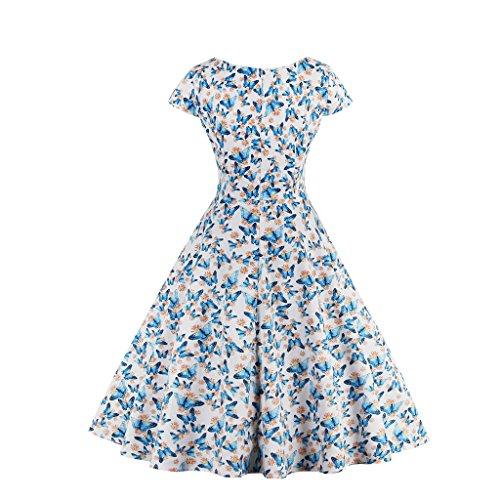 Dissa M1328 Damen 50er Retro Cocktail Vintage Rockabilly Kleid Weiß