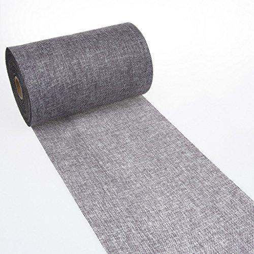 Deko as gmbh striscia centrotavola shabby chic a effetto lino, 20cm, grigio scuro, 5m,69-200-5-22