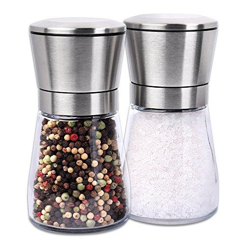 S/O® 2er Pack Salz- und Pfeffermühle im Set Gewürzmühle manuell Edelstahl unbefüllt mit Keramik Mahlwerk Höhe ca. 13cm Pfeffer Salz Mühlen Gewürz Mühle Pfeffermühlen