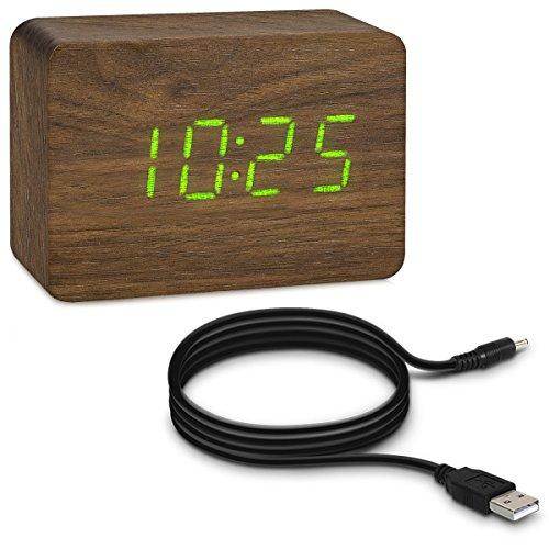 kwmobile Reloj despertador digital pequeño con aspecto de madera marrón - activación táctil sonido e indicador de temperatura - con LEDs verdes