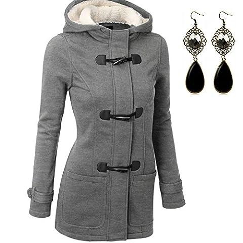 M-Queen Femme Manteaux à Capuche Gilet Bouton épais Blouson Hiver Hoodie Veste Jacket Casual Outwear Coat Fleece Manteau - Gris - M/EU36-38