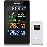Excelvan PT3389 Estación Meteorológica con Pantalla LCD, Soporte para Colocación, Sensor Inalámbrico, Alarma del Snooze, Previsión Meteorológica, Humedad y Temperatura, Indicación de Presión del Aire