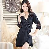 WXIN Frauen Nightgown Silk Pyjamas Mid Sleeve Nachthemd Damen Sommer / Bademäntel Thin /