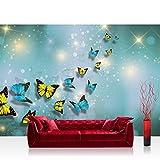 Vlies Fototapete 416x254cm PREMIUM PLUS Wand Foto Tapete Wand Bild Vliestapete - Tiere Tapete Schmetterlinge Kunst Punkte Licht türkis - no. 2560