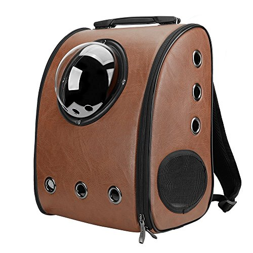 IACON Backpack Pet Carrier Haustier Rucksack Brust Tragetasche Transportrucksack für Hunde & Katzen (Brown) (Traveler Rädern Auf Rucksack)