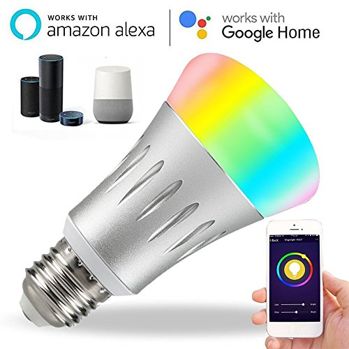 Youtoo Smart LED Lampe WiFi Smart LED Lampen Bunte Wlan Birne Mehrfarbige  LED Dimmbare Lampe 7W E27 RGB Glühbirne Arbeitet Für Alexa Und Google Home  ...