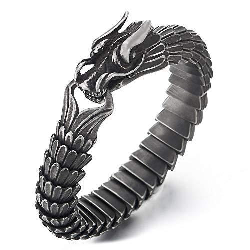 iMECTALII Retro-Stil Herren Edelstahl Drache Gliederkette Armband, Vintage Rauhe Oberfläche, Haken Federringverschluss
