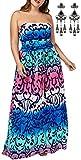 MODETREND Mujer Vestido Playa Tallas Grandes de Envuelto Pecho con Florales Impresa Vestidos de Fiesta de Noche Azul XXL