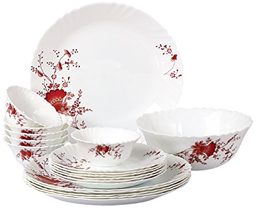 Cello Imperial Ocean Flower Opalware Dinner Set, 19 Pieces, White