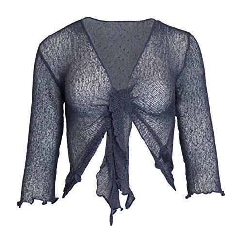 Mesdames Femme de Dames Womens Ladies Bali Plain Colored Fish Net Super Stretch Tie-Lace Cardigan Bolero Shrug Cardigan avant ouvert (une taille) Denim