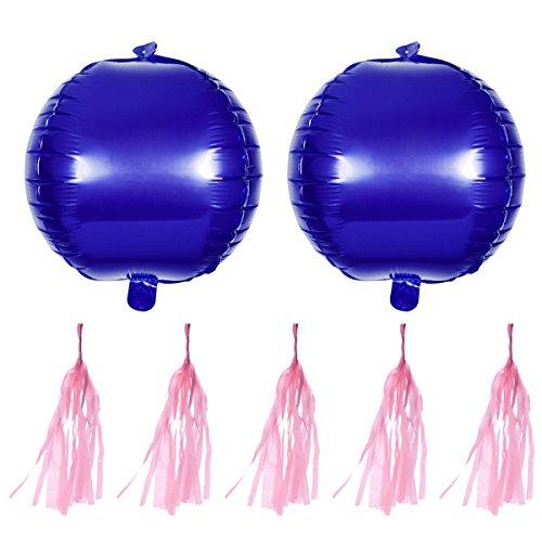NUOLUX 2 Unidades Globos Gigantes de Aluminio Azul con 5 Unidades Borla Rosa Claro