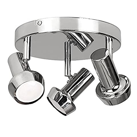 Modern Silver Chrome Adjustable 3 Way Round Plate Ceiling Torch Head Spotlight