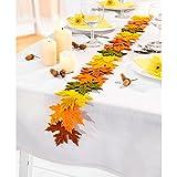 Tri Tischband Herbstlaub, Girlande in Blattform für Sideboard und Tisch in Leuchtenden Herbstfarben