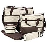 Foxnovo 5tlg Multifunktionale Baby Windel Wickeltasche Babytasche Pflegetasche Tasche Geschenkidee Mama Mutter (Kaffeebraun)