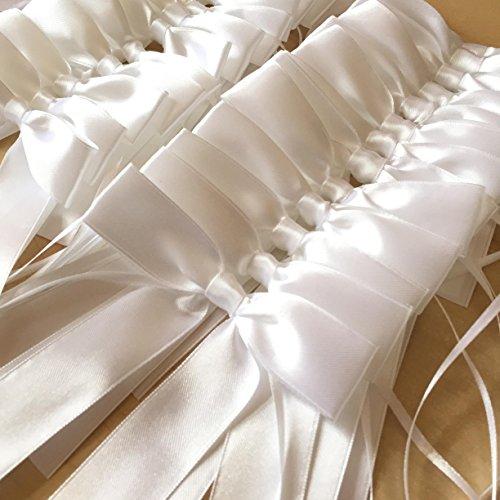 99tastes 25x hochwertige Antennenschleifen aus weißem Satin | Hochzeit, Hochzeitsdeko, Hochzeitsschleifen, Satin Schleifen, Autoschmuck, Autoschleifen, Autodeko, Autokorso, Zeremonie, Kommunion