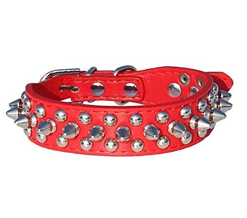 Fengh PU & # X3000; Leder mit Spike-Nieten Halsband 6/20,3cm breit für kleine/xx-small Rassen und Welpen