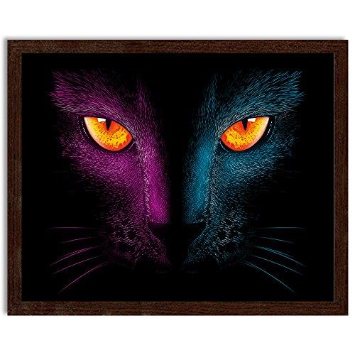 Feeby. Bild in der Rahme, ein Deco-Bild, Bilder Kunstdrucke, Wandbilder - 1 Teilig- 100x70 cm, Neon Cat - DDJVigo, ANIME, KOT, SCHWARZ (Neon Papier Platten)
