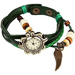 Bohemian Style [Waterproof] Retro Handmade Leather [Angel Wing Pendant Wrist Watch] Fashionable, Luxury & Stylish Weave Around [Wrap Watch Bracelet] For Women Ladies Girls. [Scratch Resistant]- Green