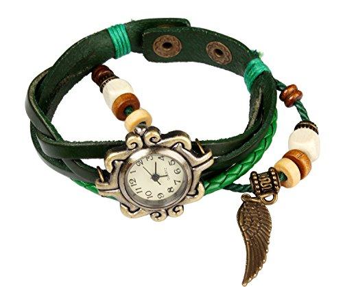 Bohemian-Stil [wasserfest] Retro handgefertigt Leder [Angel Wing Anhänger Armbanduhr] Modisches, Luxus und stilvoll Gewebe um [Armbanduhr Armband] für Frauen Damen Mädchen. ()