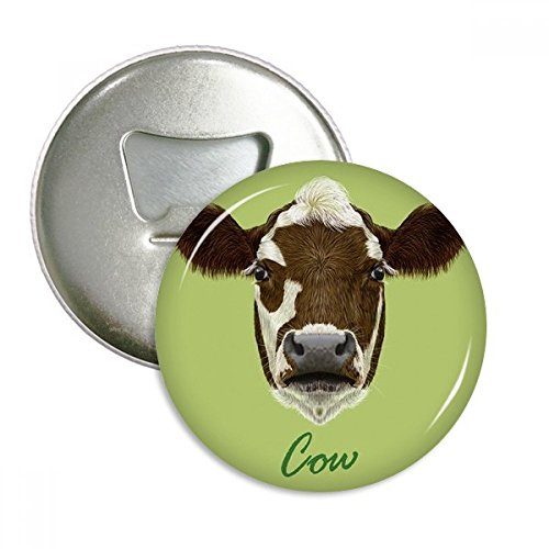 brown-and-white Domestic Milchprodukte Kuh Tier rund Flaschenöffner Kühlschrank Magnet badge Button 3 Geschenk - Kuh-magnet