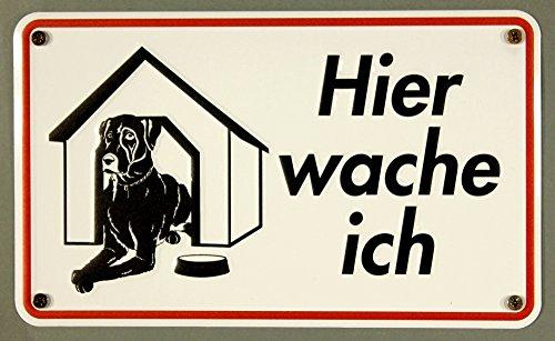 Qualitäts - Aluminium Schild Hund Hundehütte Hier wache ich 120x200 mm geprägtes Aluschild 0,6 mm Alu (Ich Hundehütte)