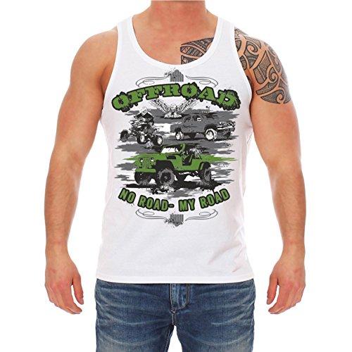 Männer und Herren Trägershirt OFFROAD No Road My Road Weiß