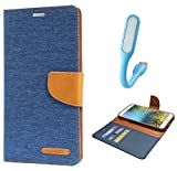 Samsung Galaxy S7 Edge Canvas Diary Leather Flip Cover WitH USB Led Light By Online Street - (Matte Blue+ LED Light)