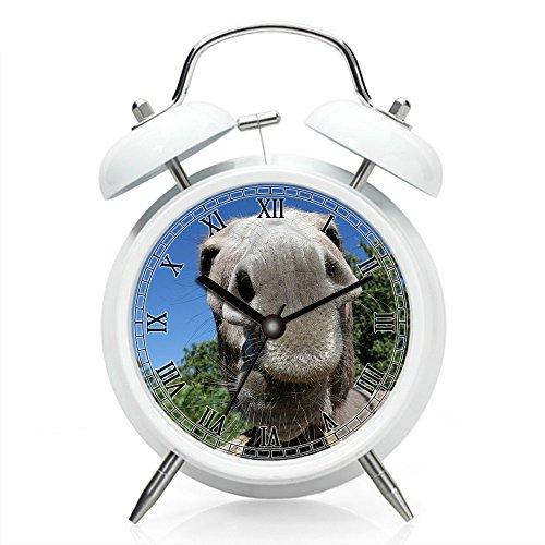 Girlsight Nachttisch-Wecker mit Hintergrundbeleuchtung, batteriebetriebene Reise-Uhr, runde Twin Bell-Laut-Wecker (individuelles Muster) 135. Esel, Schnauze, Nase, Schlie?en, Tier, Haustier - Kleinkind-nachttisch