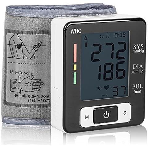 Tensiómetro de Muñeca Eléctrico Portátil Monitor de Presión Arterial con Gran Pantalla Digital Medidor de tensión de muñeca con función de memoria para Usar en Casa o Viaje -Duomishu