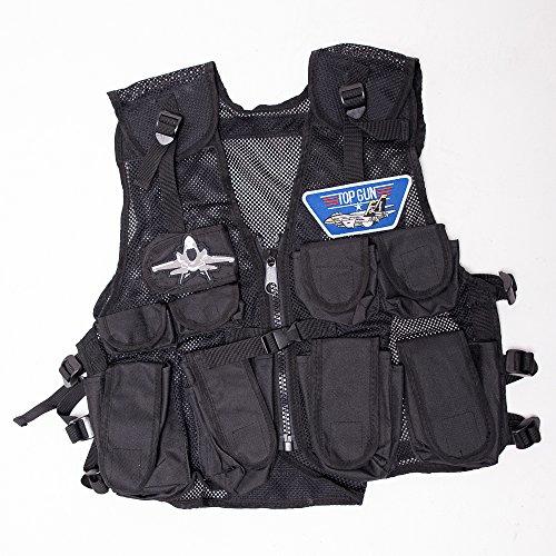 Top Gun Kostüm Kinder Pilotenkostüm Junge 2 Fliegerabzeichen TopGun Einsatzweste Militär Armee Weste Air Force Verkleidung Topgun (Piloten-kostüm Gun Top)