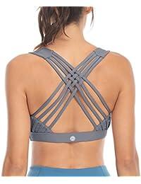 0df03d2064 Queenie Ke Women s Medium Support Strappy Back Energy Sport Bra Cotton Feel