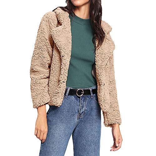 Mantel Damen,Damen Plüschjacke Faux Für Revers Mantel Outwear Langarm Strickjacke Mantel,u2764ufe0fBinggong Damen Mantel