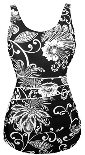 Angerella Vintage Retro One Piece Maillots de bain Floral Noir