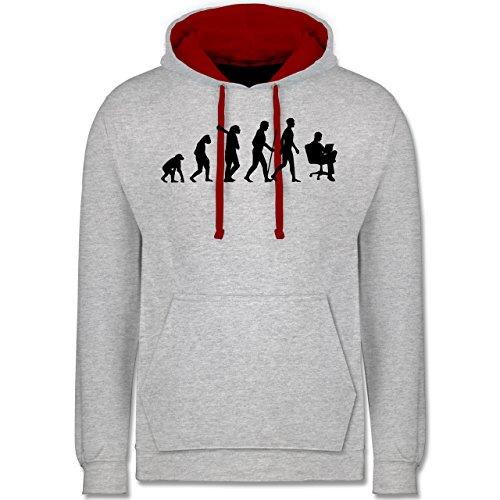 Evolution - Karriere - Kontrast Hoodie Grau Meliert/Rot