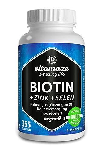 Biotine Pousse des cheveux + Sélénium + Zinc pour une peau, des cheveux & des ongles sains, 365 comprimés végétalien pour 1 an, biotine (vitamine B7) en dose élevée de 10.000 mcg, produit de qualité allemand, maintenant au prix promotionnel et 30 jours de reprise gratuite! pack de 1 (1 x 91,25 g)
