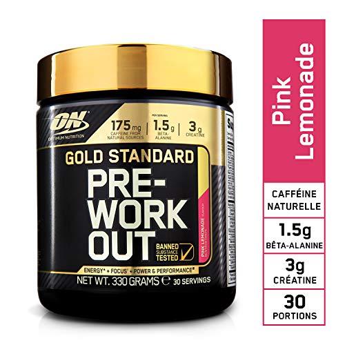 Optimum Nutrition Gold Standard Pre Workout, Booster de Pré-Entraînement avec Creatine Monohydrate, Bêta-Alanine, Cafeine et Vitamine B Complex, Limonade Rose, 30 Portions, 330 g