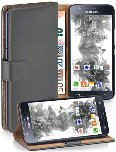 MoEx® Booklet mit Flip Funktion [360 Grad Voll-Schutz] für Samsung Galaxy J5 (2015) | Geldfach und Kartenfach + Stand-Funktion und Magnet-Verschluss, Dunkel-Grau