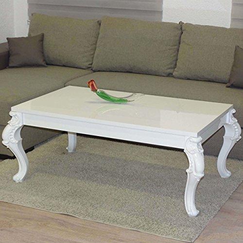 Euro Tische Couchtisch 100 x 60 x 50 cm, Weiß Hochglanz Lack Kratzfest, Wohnzimmer-Tisch...