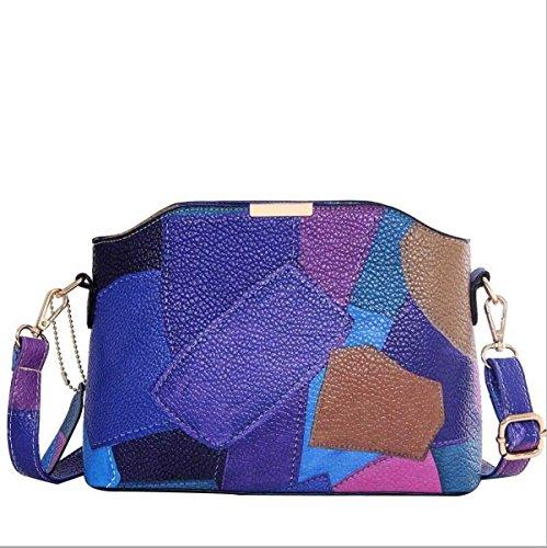 Casual Frauen Schultertasche Messenger Bag Nähen Blue