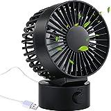 AYOUYA Desk Fan Noiseless USB Fan Cooling Fan with Adjustable Head, Double Fan Blades, 2 Speeds, Mini Size Desktop Fan for Home Office Outdoor Travel