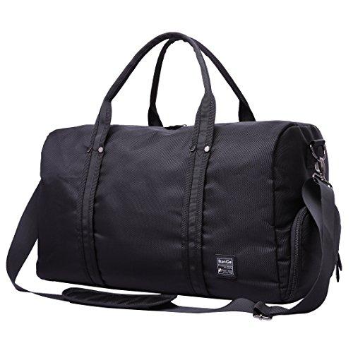 BanGe Sporttasche Damen, Großer Wasserdichter Rucksäcke, Trekking Herren Rucksack mit Schuhfach 45 L Großräumige Handtasche Schultertasche, (Schwarz)