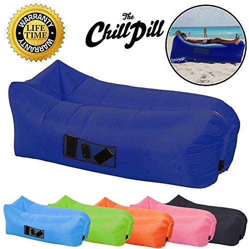 The Chill Pill aufblasbares Liegesofa/Luftbett mit Taschen und Getränkehalter., navy
